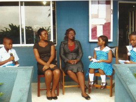 Miss Ekom Umoh & Miss Ekom Inyang (Monef Alumni) on an Interview programme with 'Facing Facts' anchored by Monef Press Club